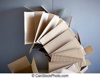 empilé, boîtes, forme, courbé, cercle, carton, ouvert