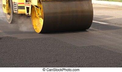 empilement, asphalte, ouvriers, rouleau