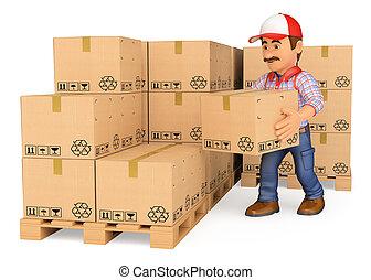 empilement, entrepôt, magasinier, boîtes, 3d