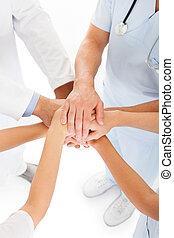 empilement, médecins, mains