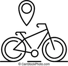emplacement, épingle, icône, style, gps, contour, vélo