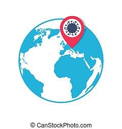 emplacement, épingle, indicateur, icône, coronavirus, globe