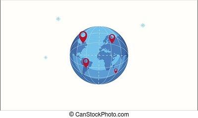 emplacement, epingles, carte terre