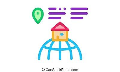 emplacement, maison, animation, icône