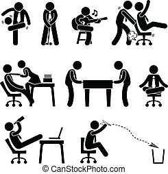 employé, amusement, ouvrier, bureau