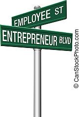 employé, entrepreneur, choix, signes rue