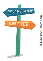 employé, entrepreneur, signe., route