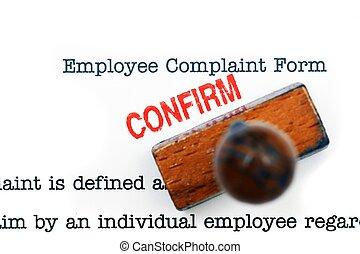 employé, plainte, -, formulaire, confirmer