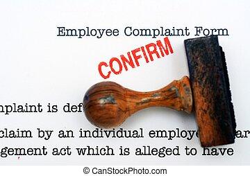 employé, plainte, formulaire