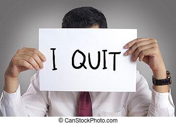 employé, quitter, concept, démissionner