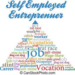 employé, soi, entrepreneur, métier, occupation
