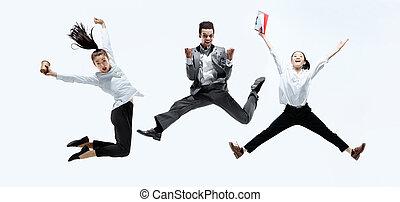 employés bureau, isolé, sauter, studio, fond