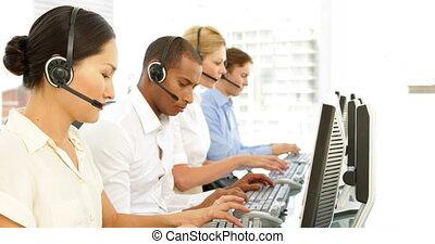 employés, travail, centre appel
