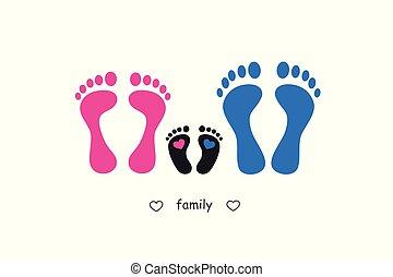 empreinte, bébé, père, mère