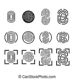 empreinte doigt, icônes, set., vector.