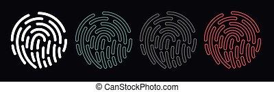 empreinte doigt, identification, vecteur, ensemble, isolé, sci-fi, avenir, icônes