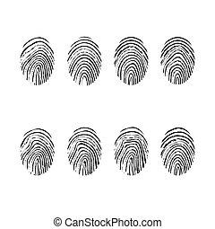 empreinte doigt, isolé, ensemble, vecteur, illustration, arrière-plan., icônes, blanc
