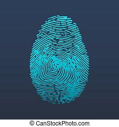 empreinte doigt, mobile, gabarit, identification, toile, apps., person., app, logo., conception, id, ou, icon.
