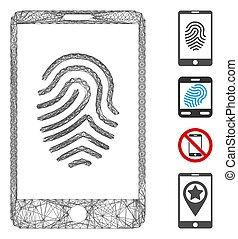 empreinte doigt, smartphone, maille, vecteur, linéaire