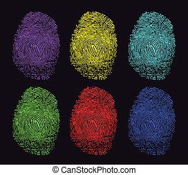 empreintes digitales, coloré