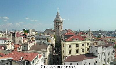 en avant!, tour, jour, clair, aérien, galata, istanbul, lent, scénique, chariot, ciel, large, célèbre, coeur, bleu, vue