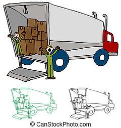 en mouvement, compagnie, camion