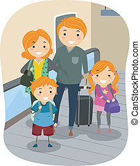 en mouvement, famille, walkway