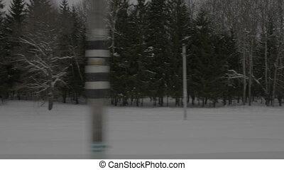 en mouvement, train, parc, hiver, vue