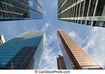en ville, bâtiment, bureau