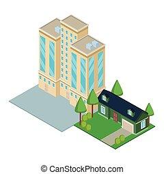 en ville, bâtiment, isométrique, maison