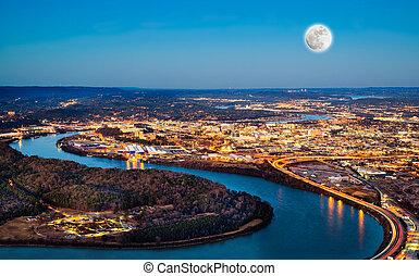 en ville, chattanooga, nuit