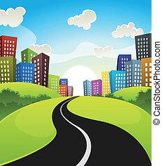 en ville, dessin animé, paysage