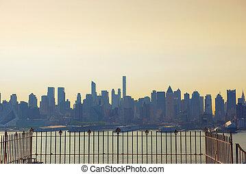 en ville, gratte-ciel, usa, horizon, york, ville, nouveau