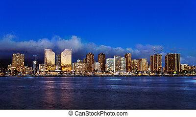 en ville, horizon, honolulu, hawaï, oahu