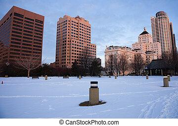 en ville, milwaukee, hiver, matin