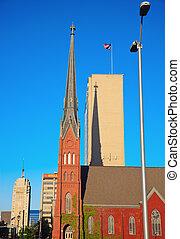 en ville, milwaukee, rouges, église