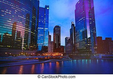 en ville, nuit, vue, gratte-ciel, chicago