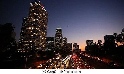 en ville, soleil, trafic, la