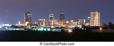 en ville, tard, horizon, trinité, nuit, rivière, valeur, texas, fort