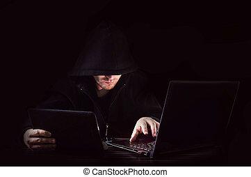 encapuchonné, attaque, pirate informatique, cyber, unrecognizable