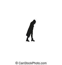 encapuchonné, silhouettes, silhouette, middle., personne, person., marche., gens