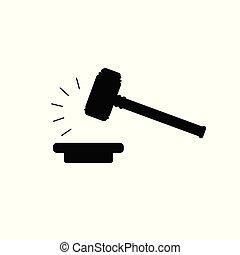 enchère, isolé, arrière-plan., vecteur, juge, blanc, marteau, marteau, icône