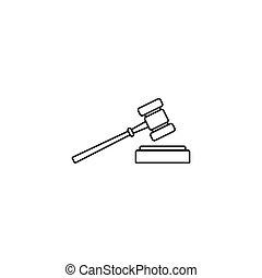 enchère, signe, juge, marteau, icône, ligne, marteau
