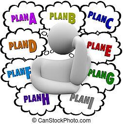 encore, c, b, différent, essayer, plan, stratégies, changement