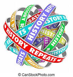 encore, cyclique, sur, répétitif, hier, t, mots, répétitions, histoire