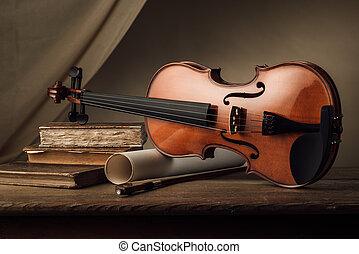 encore, livres, violon, vieux, vie