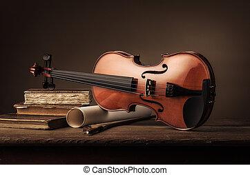 encore, violon, vie, livres, vieux