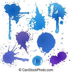 encre bleue, tache, collection