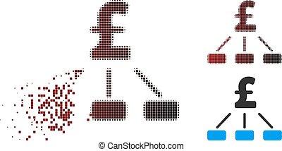 endommagé, livre, hiérarchie, halftone, pixel, icône