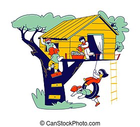 endroit, échelle, games., maison, peu, gosses, pneu, bois, vecteur, illustration, jouer, arbre, été, garçons, balançoire, treehouse, linéaire, cour de récréation, filles, caractères, enfant, enfants, gens